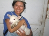 Rene and the new Lamby at White Rabbit Acres