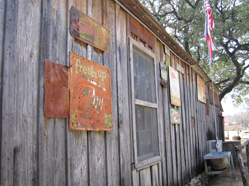 Outside wall of Luckenbach saloon
