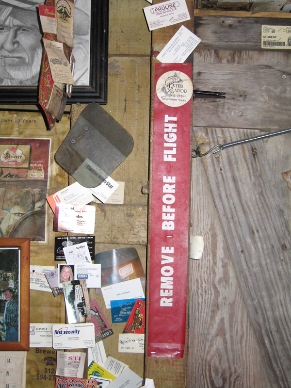 Flight tag in Luckenbach saloon