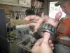 Jim repacking the trailer wheel bearings
