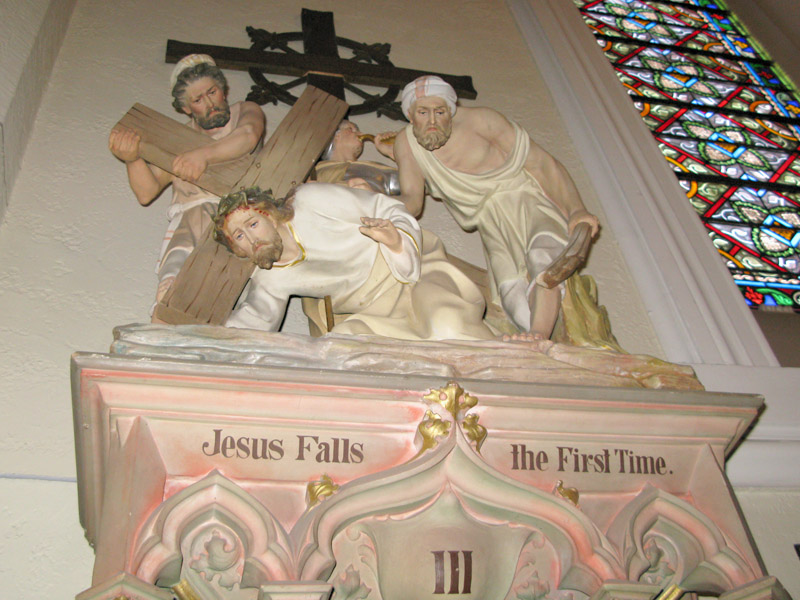 Jesus falls at the third station of the cross in Loretto Chapel