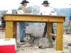 Lobo patiently waits for burgers at the Vickers Ranch Friday cookout.