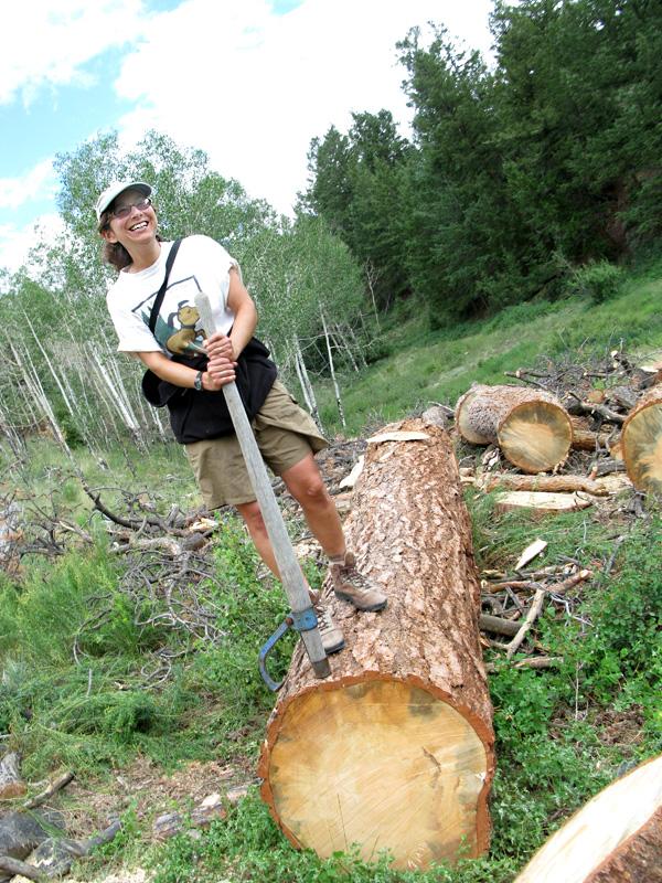 Rene the Lumberjane on Felled Ponderosa Pine