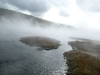 Steam Rises from Hot Lake Yellowstone National Park