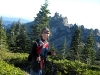 Castle Crags behind Rene hiking Castle Lake