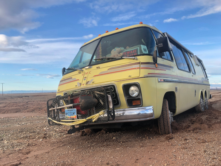 GMC Motorhome Gets Stuck in Mud