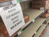 Empty Supermarket Ramen Shelves