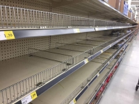 Empty Supermarket Pasta Shelves