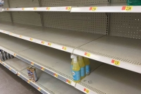 Empty Supermarket Cleaners Shelves