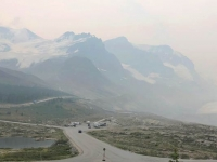 Smoky Skies over Athabasca Glacier from Icefields Visitor Centre