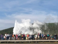 Old Faithful crowd at Yellowstone National Park