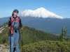 Rene hikes above Castle Lake by Mount Shasta