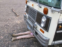 Maxine helps repair 1978 Bluebird Bus