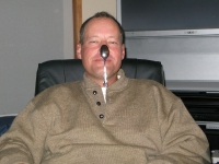 Brother Pat demonstrates the old spoon on the nose trick