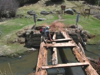 Dave attempts to cross San Antonio Hot Springs bridge