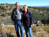 RVers Kim and Sam near New Mexico property