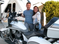 Kim and Ari with new Victory Motorcycle