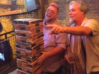 NüRvers playing Bar Jenga on Sixth Street Austin, TX
