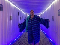 Sam in Container Hallway to The Greenhouse Adult Tubs at Sand Dunes Hot Springs