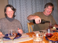 Enjoying New Years dinner with Martha and Ralph