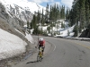 Crazy Cyclist Climbing Million Dollar Highway 550 from Ouray to Silverton, CO