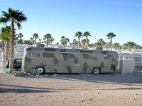 Camouflage bus in Quartzite, AZ