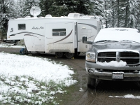 Our dirty rig in the snow at Williams Creek campground