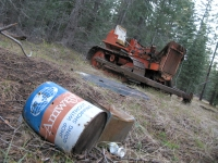 Abandoned bulldozer and Amway in Shasta Forest
