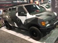 Bullet bed liner custom van build at SEMA 2018