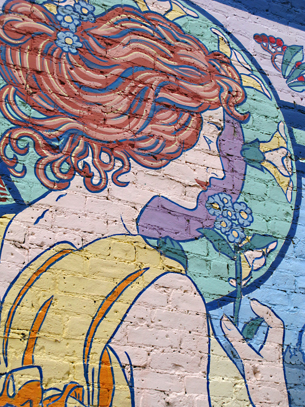 Colorful mural on old building in Ouray, CO