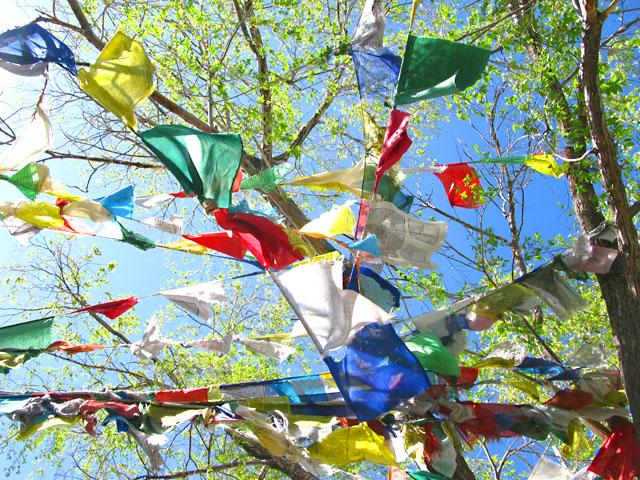 Prayer Flags Fly Over Santa Fe Buddhist Temple