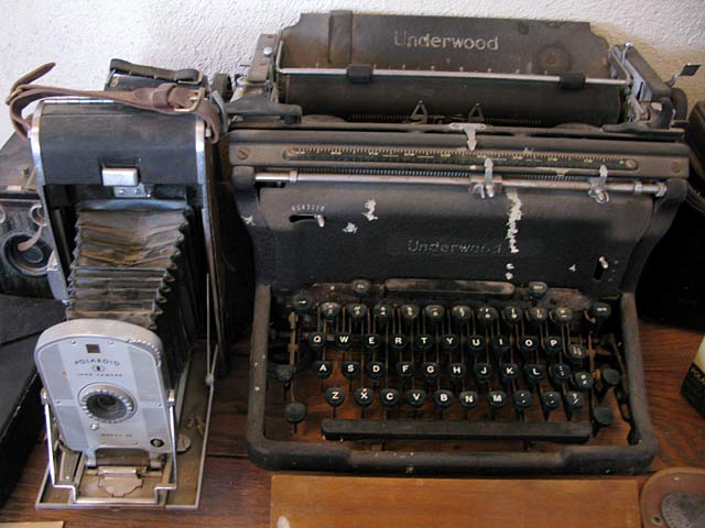 Hallie Stillwell's old Polaroid Camera and Underwood Typewriter