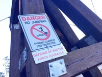 Yukon River Miles Canyon Suspension Bridge Warning, Whitehorse YT