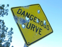 Dangerous Curve along Utah Back Road by Old Dewey Bridge