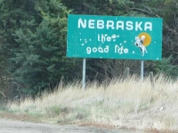 Nebraska State Line Border Sign