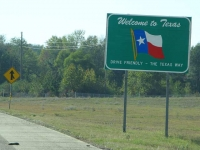 Texas State Line Border Sign
