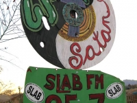 East Jesus West Satan Slab City Signs