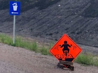 Motorcyclist Warning Sign on Highway 97, Brittish Columbia