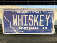 Whiskey License Plate, Willie's Distillery, Ennis Montana
