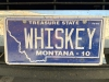 Whiskey License Plate, Willie's Distillery, Ennis Montana