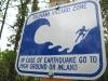 tsunami hazard zone warning sign at Cape Disappointment, Washington