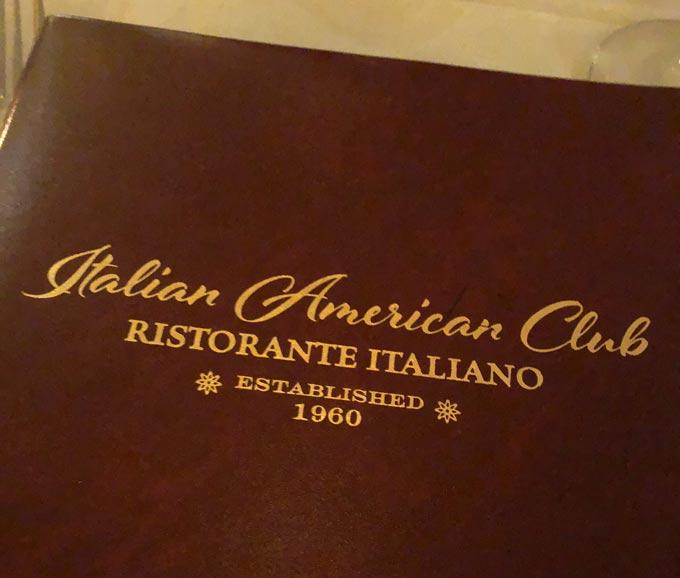 Italian American Club Menu