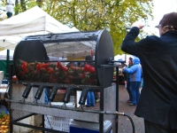Roasting fresh peppers at Portland farmers market
