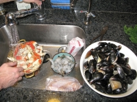 Cleaning Fresh Shellfish for Cioppino