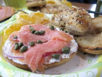 home baked bagels with smoked salmon