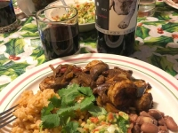 Bombay Beach New Years Camarones con Mole and Three Legged Red
