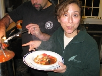 Rene thrilled about Randy serving homemade Cioppino