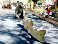 Historic Old Town Fort Collins, CO bear and Fish Statues