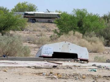 Slab City Sunken Ship Resident Impromptu Shade Shelter
