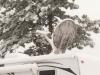 Snow Covered RV Satellite Dish on Arctic Fox Fifth Wheel